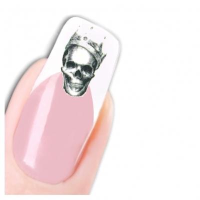 Tattoo Nail Art Totenkopf mit Krone La Catrina - 1