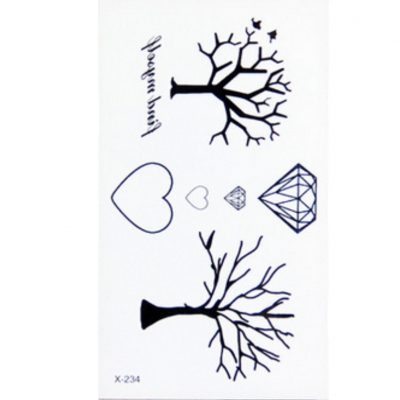 Temporäres Tattoo Herz Diamant Baum Key - 2