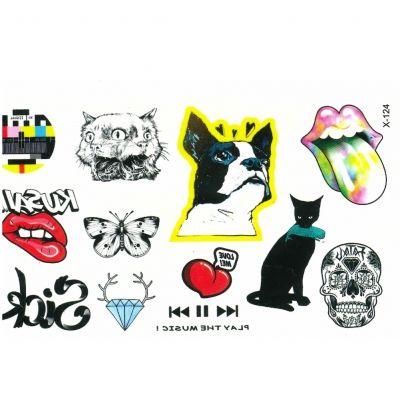 Temporäres Tattoo Herz Diamant Katze Hund - 2