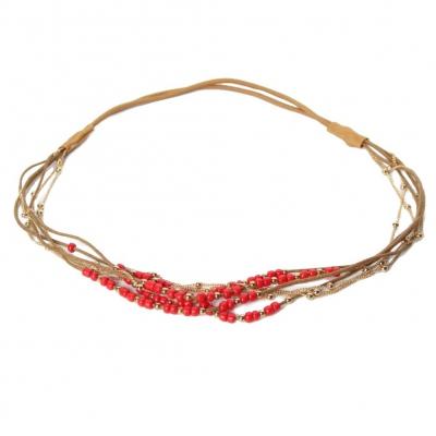 Haarband Boheme mit farbigen Perlen und goldener Kette Rot - 1