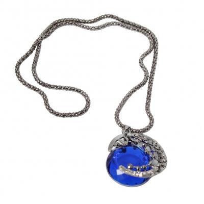 Halskette mit Halbmond Edelstahl Anhänger und großem blauem Strass Stein - 1