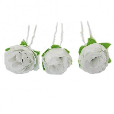 3 weiße Rosen Haarnadeln Braut Kommunion Hochzeit Haarschmuck - 1