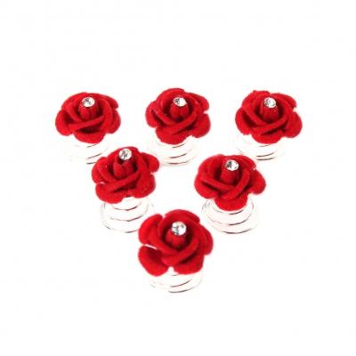 6 Curlies Rosen Blüten Haarschmuck mit Straß - 1