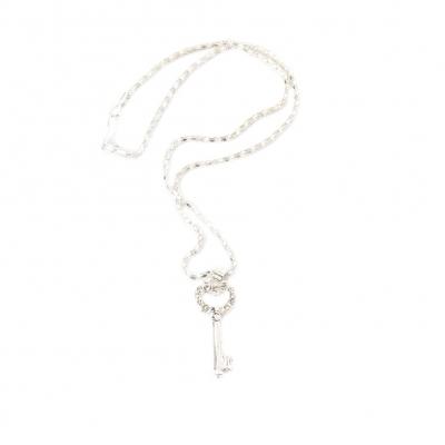 Halskette mit Strass Schlüssel Anhänger - 1