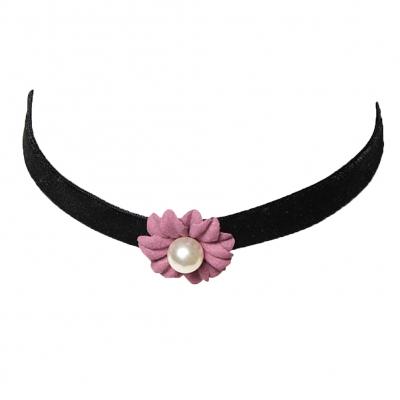 Choker Kropfband mit Samt Perlen-Blume Bordeaux - 5