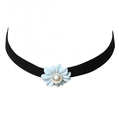 Choker Kropfband mit Samt Perlen-Blume Blau - 1