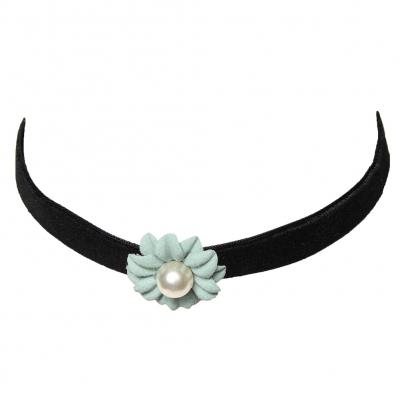 Choker Kropfband mit Samt Perlen-Blume Grün - 1
