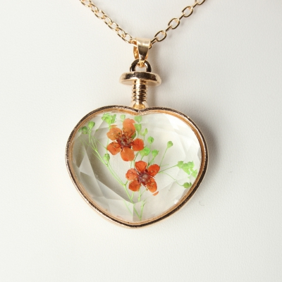 Halskette mit Herz Medaillon Anhänger Blume - 1
