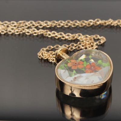 Halskette mit Herz Medaillon Anhänger Blume - 2