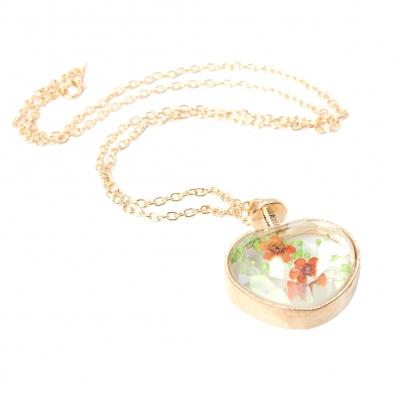 Halskette mit Herz Medaillon Anhänger Blume - 3