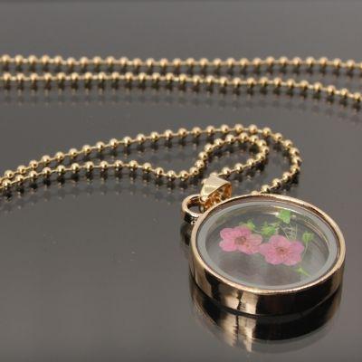 Halskette mit Medaillon Anhänger Blume - 2
