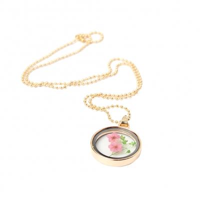 Halskette mit Medaillon Anhänger Blume - 3
