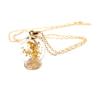 Halskette mit 3D Glaskugel Anhänger Blume - 2