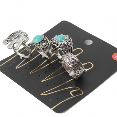 Ringe 4 er Set Midi Fingerspitzenring mit Elefantenmotiv - 1