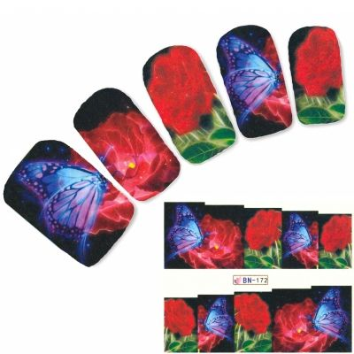 Tattoo Nail Schmetterling Falter Blume Nagel Sticker