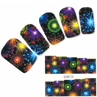 Tattoo Nail Art Feuerwerk Nagel Sticker