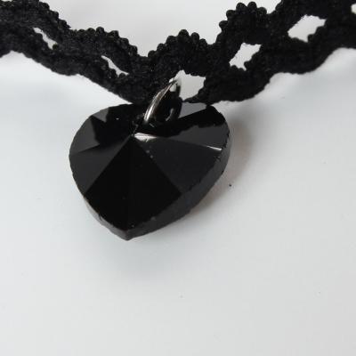 Gothic Choker Kropfband mit Straß Herz Blüten Anhänger - 1