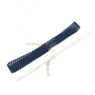 2 Gothic Choker Kropfbänder Blau Weiß - 1