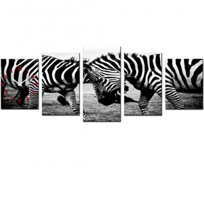 Wanduhr 5 tlg. XXL Leinwandbild für Wohnzimmer Motiv Zebra - 1