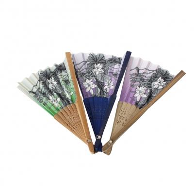Fächer Handfächer asiatisch Bambus Libellen Lotosblumen - 1