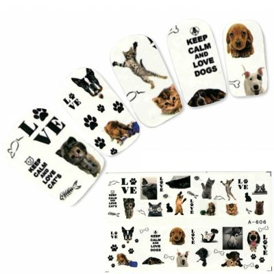 Tattoo Nail Love Hunde Katzen Nagel Sticker - 0