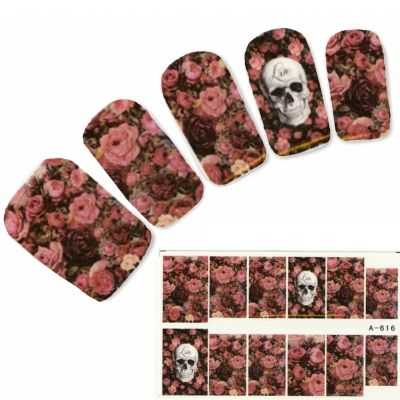 Tattoo Nail Love Totenkopf Rosenwiese Nagel Sticker