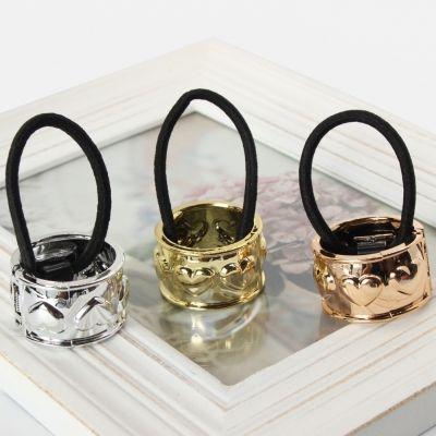 Haarring mit Herzen in der Farbe Bronze - 1