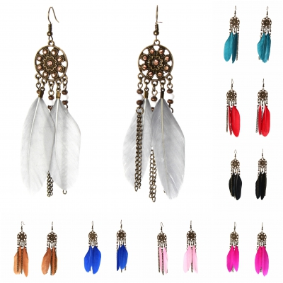 1 Paar Feder Ohrhänger Boho Ohrringe Blau - 1