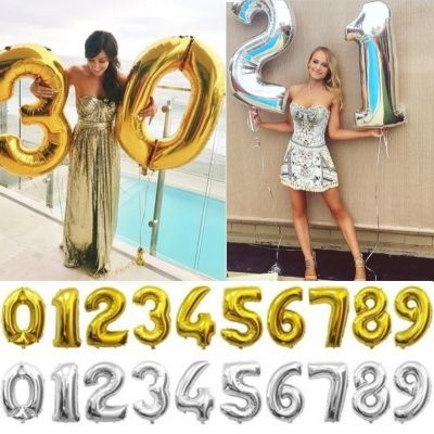 Zahl Luftballon XL 75CM Nummer Folienballon Silber 2 - 1