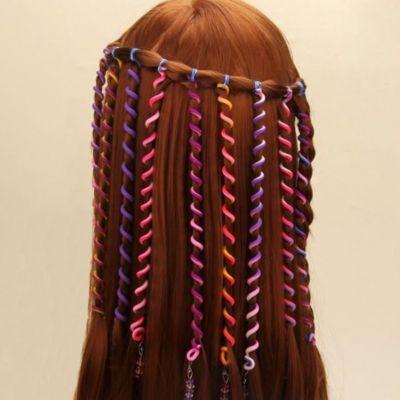6 Haar Spiralen Bunt mit Strass - 2