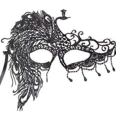 Venezianische Augenmaske Schwarz Pfau - 1
