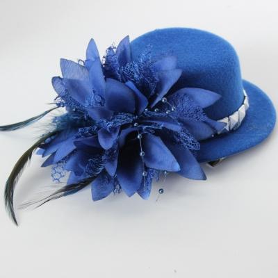 Mini Hut mit Blume und Verzierung Fasching Blau - 1