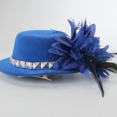 Mini Hut mit Blume und Verzierung Fasching Blau - 2