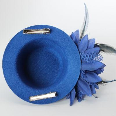 Mini Hut mit Blume und Verzierung Fasching Blau - 3