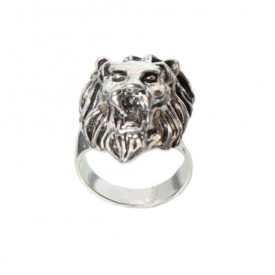 3D Edelstahl Ring L�we L�wenkopf Silber - 1