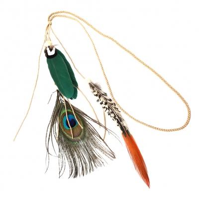 Geflochtenes Haarband Haarkette mit Pfau Feder Grün - 1