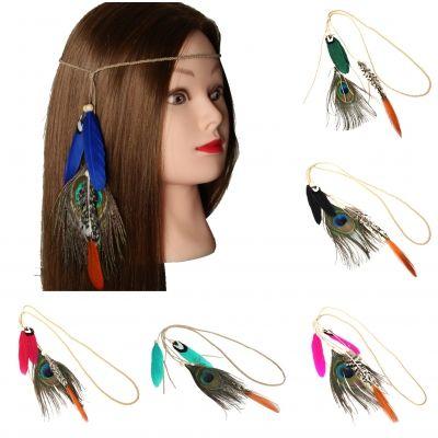 Geflochtenes Haarband Haarkette mit Pfau Feder Grün - 2