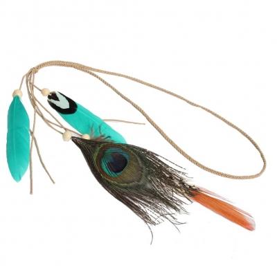 Geflochtenes Haarband Haarkette mit Pfau Feder hell Grün - 1