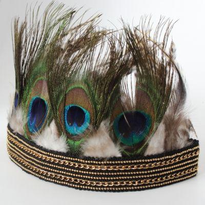 Haarband mit Federn Pfauenfedern in Gold - 1