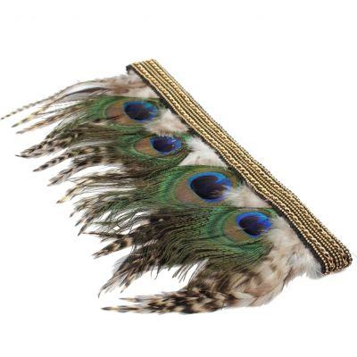 Haarband mit Federn Pfauenfedern in Gold - 2