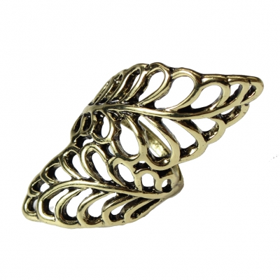 Edelstahl Ring mit filigranen Bl�ttern Bronze - 1