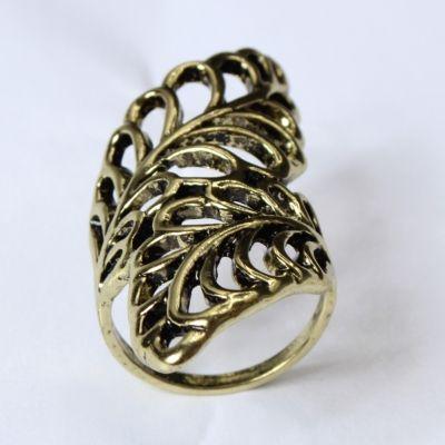 Edelstahl Ring mit filigranen Bl�ttern Bronze - 2
