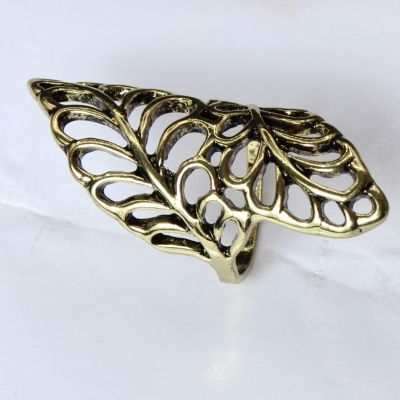 Edelstahl Ring mit filigranen Bl�ttern Bronze - 3