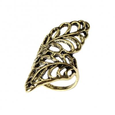 Edelstahl Ring mit filigranen Bl�ttern Bronze - 4