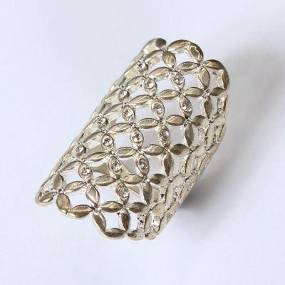 Edelstahl Ring Silber Gold mit Stra� - 2