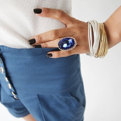 Edelstahl Ring gro�er ovaler gl�nzender Stein - 1