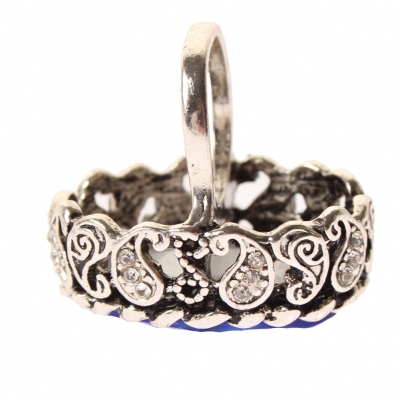 Edelstahl Ring gro�er ovaler gl�nzender Stein Silber Gr. 57 = 18,1 mm - 3
