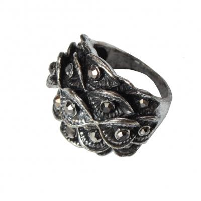Edelstahl Ring Bl�ten mit Strass Gr. 56 = 17,8 mm Silber - 1