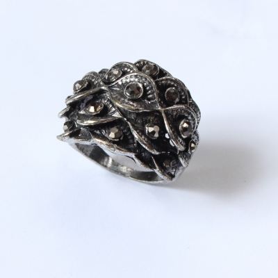 Edelstahl Ring Bl�ten mit Strass Gr. 56 = 17,8 mm Silber - 2