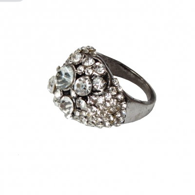 Edelstahl Ring mit Strass Gr. 52 = 16,5 mm Silber - 1